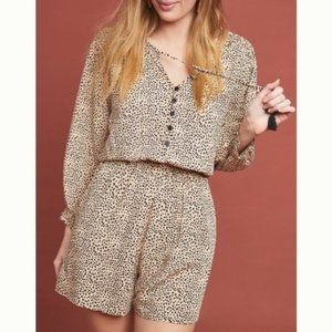 Anthropologie Beach Gold Chelsea Spotted Romper L